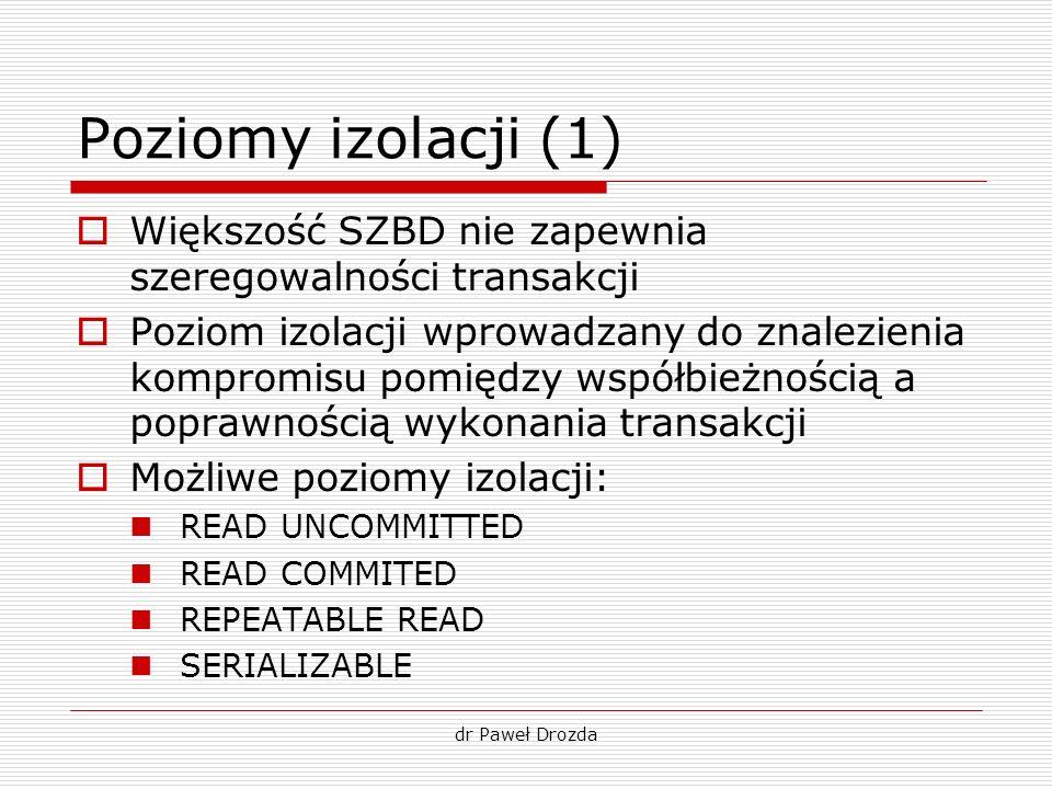 dr Paweł Drozda Poziomy izolacji (1) Większość SZBD nie zapewnia szeregowalności transakcji Poziom izolacji wprowadzany do znalezienia kompromisu pomi