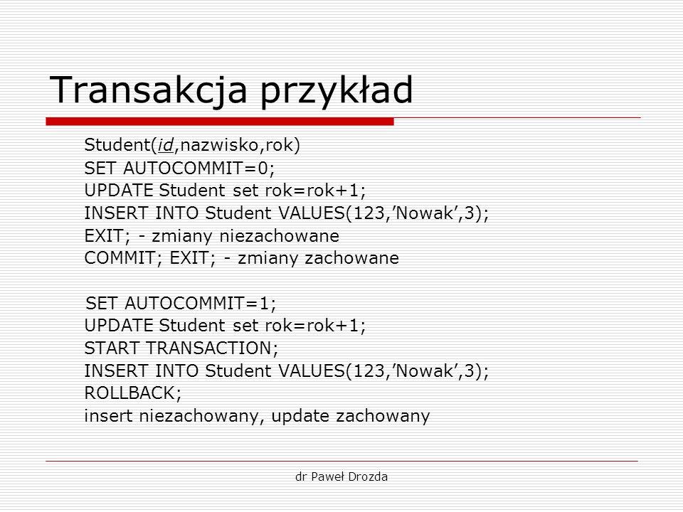 dr Paweł Drozda Transakcja przykład Student(id,nazwisko,rok) SET AUTOCOMMIT=0; UPDATE Student set rok=rok+1; INSERT INTO Student VALUES(123,Nowak,3);