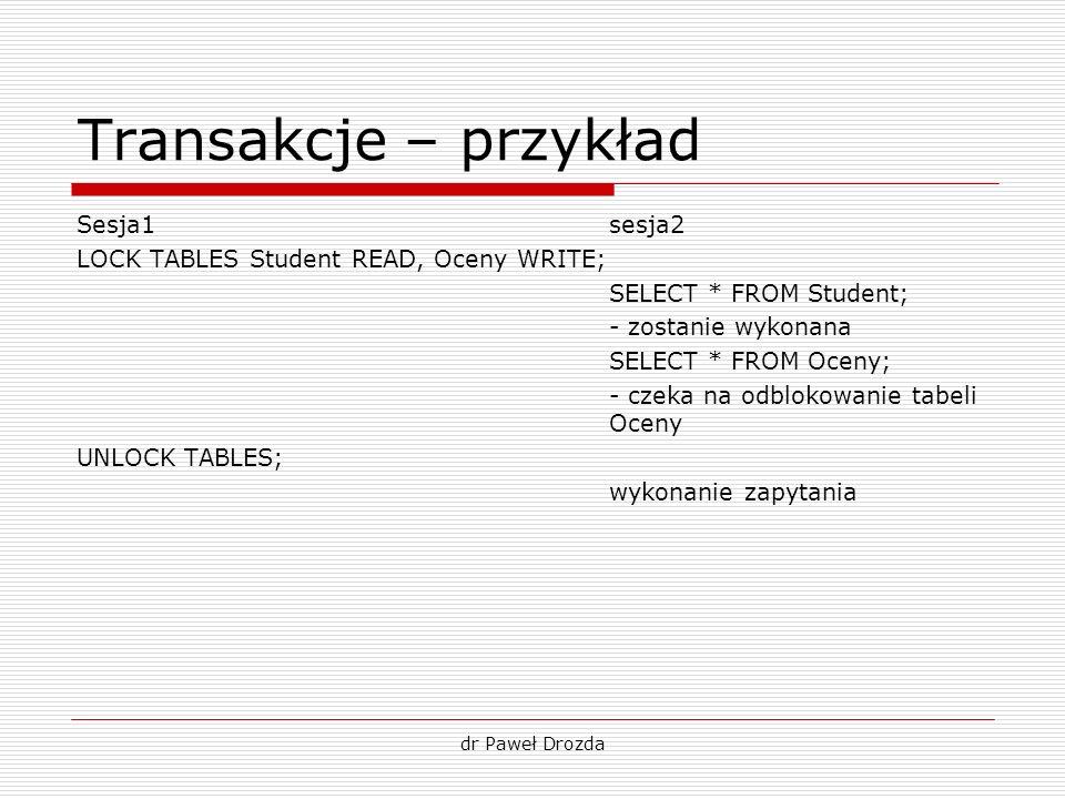 dr Paweł Drozda Transakcje – przykład Sesja1sesja2 LOCK TABLES Student READ, Oceny WRITE; SELECT * FROM Student; - zostanie wykonana SELECT * FROM Oce