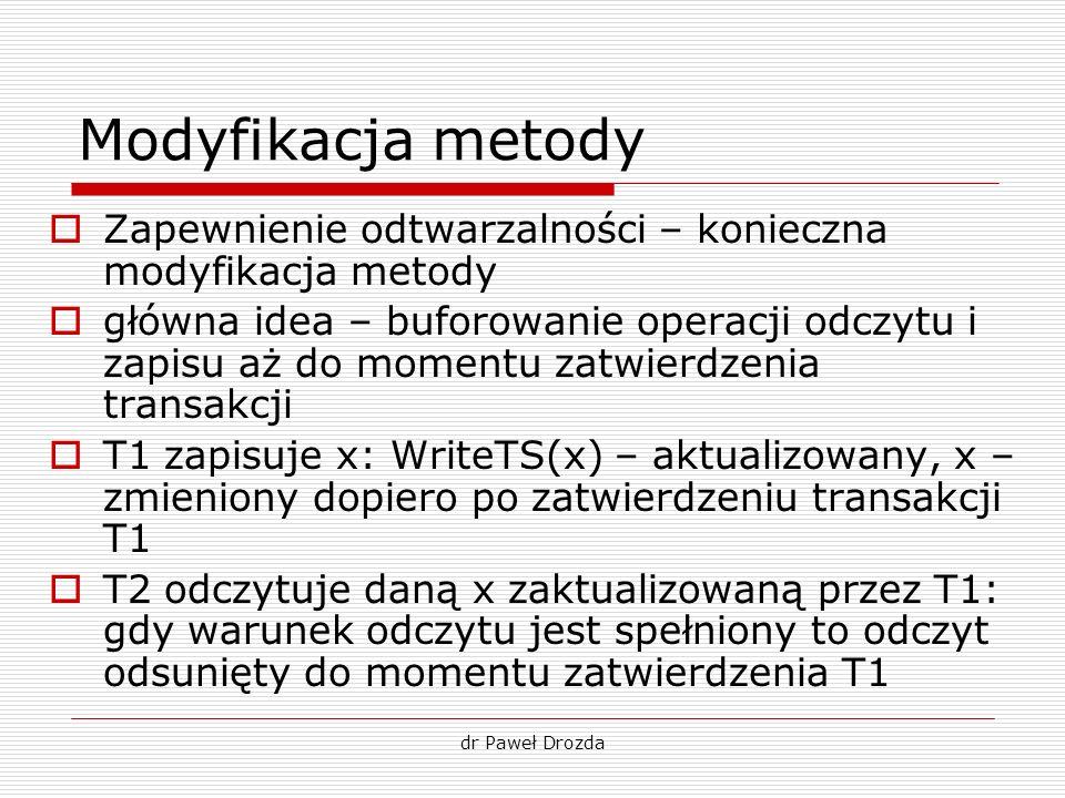 dr Paweł Drozda Modyfikacja metody Zapewnienie odtwarzalności – konieczna modyfikacja metody główna idea – buforowanie operacji odczytu i zapisu aż do
