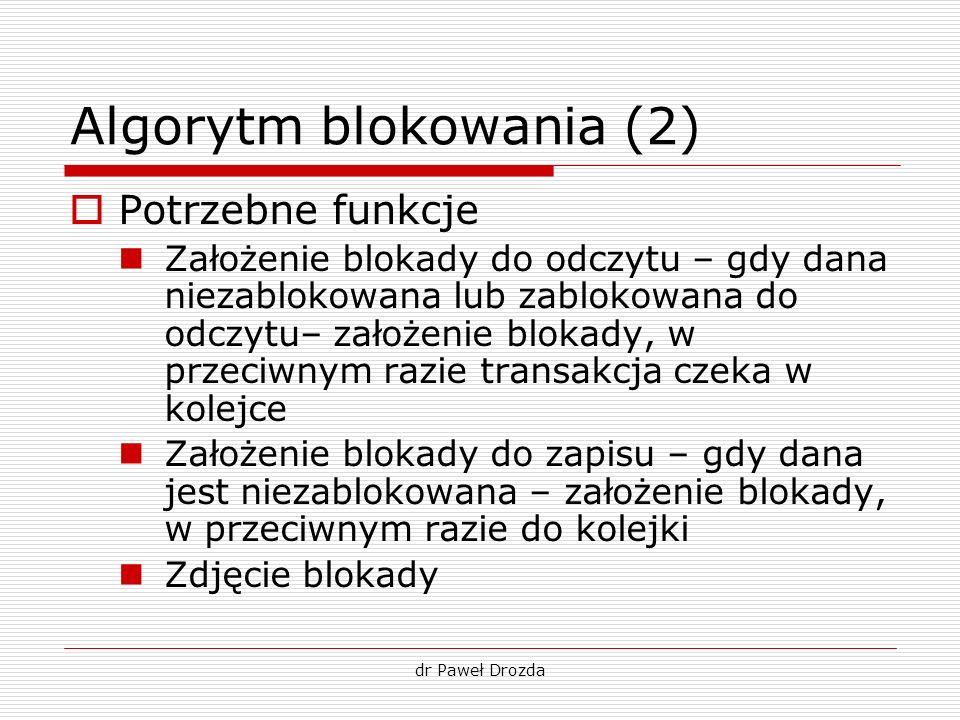 dr Paweł Drozda Algorytm blokowania (2) Potrzebne funkcje Założenie blokady do odczytu – gdy dana niezablokowana lub zablokowana do odczytu– założenie