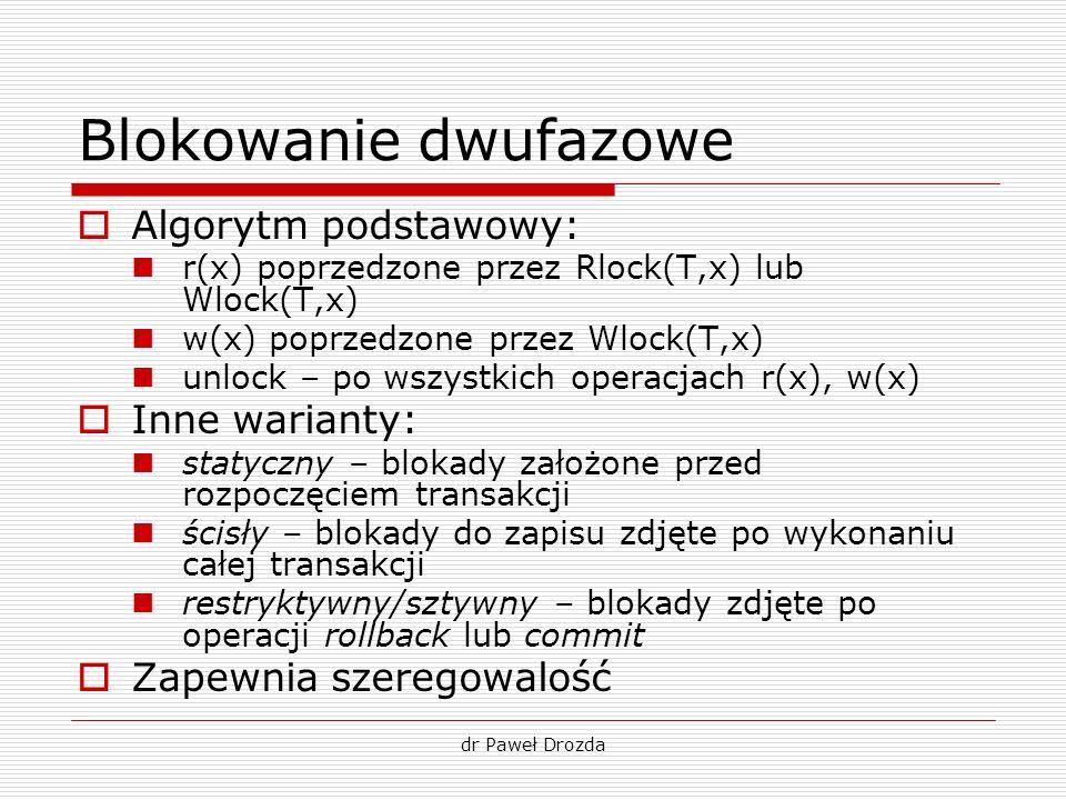 dr Paweł Drozda Blokowanie dwufazowe Algorytm podstawowy: r(x) poprzedzone przez Rlock(T,x) lub Wlock(T,x) w(x) poprzedzone przez Wlock(T,x) unlock –