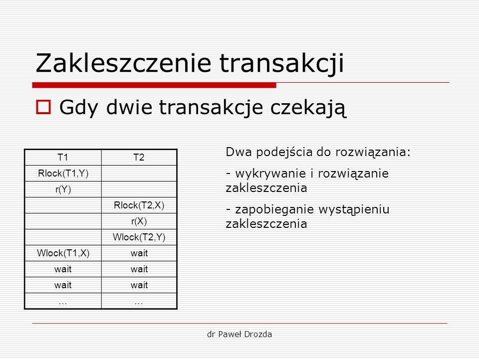 dr Paweł Drozda Zakleszczenie transakcji Gdy dwie transakcje czekają T1T2 Rlock(T1,Y) r(Y) Rlock(T2,X) r(X) Wlock(T2,Y) Wlock(T1,X)wait …… Dwa podejśc
