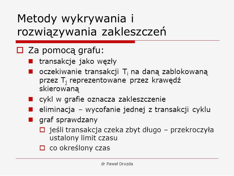 dr Paweł Drozda Metody wykrywania i rozwiązywania zakleszczeń Za pomocą grafu: transakcje jako węzły oczekiwanie transakcji T i na daną zablokowaną pr