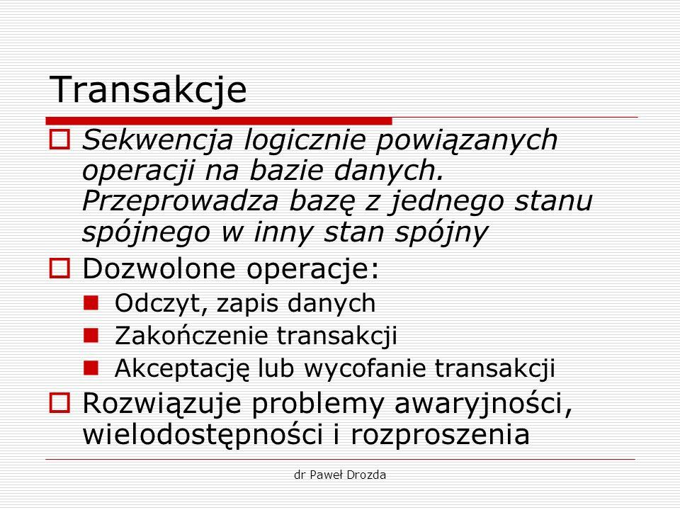 dr Paweł Drozda Transakcja – rezerwacja lotu begin UPDATE Loty SET wolneMiejsca=wolneMiejsca-1 WHERE idlotu =X; UPDATE Konta SET saldo = saldo –Z WHERE klient=Y; UPDATE Konta SET saldo = saldo +Z WHERE klient=A; INSERT INTO Pasażerowie(lot,klient) VALUES (X,Y); commit; // zatwierdzenie transakcji