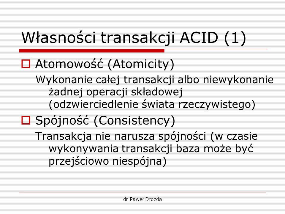 dr Paweł Drozda Własności transakcji ACID (2) Izolacja (Isolation) Transakcje wykonywane jednocześnie nie wpływają na siebie Trwałość (Durability) Po zakończeniu transakcji zaktualizowane dane nie mogą zostać w żaden sposób utracone