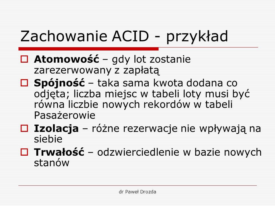 dr Paweł Drozda Zachowanie ACID - przykład Atomowość – gdy lot zostanie zarezerwowany z zapłatą Spójność – taka sama kwota dodana co odjęta; liczba mi
