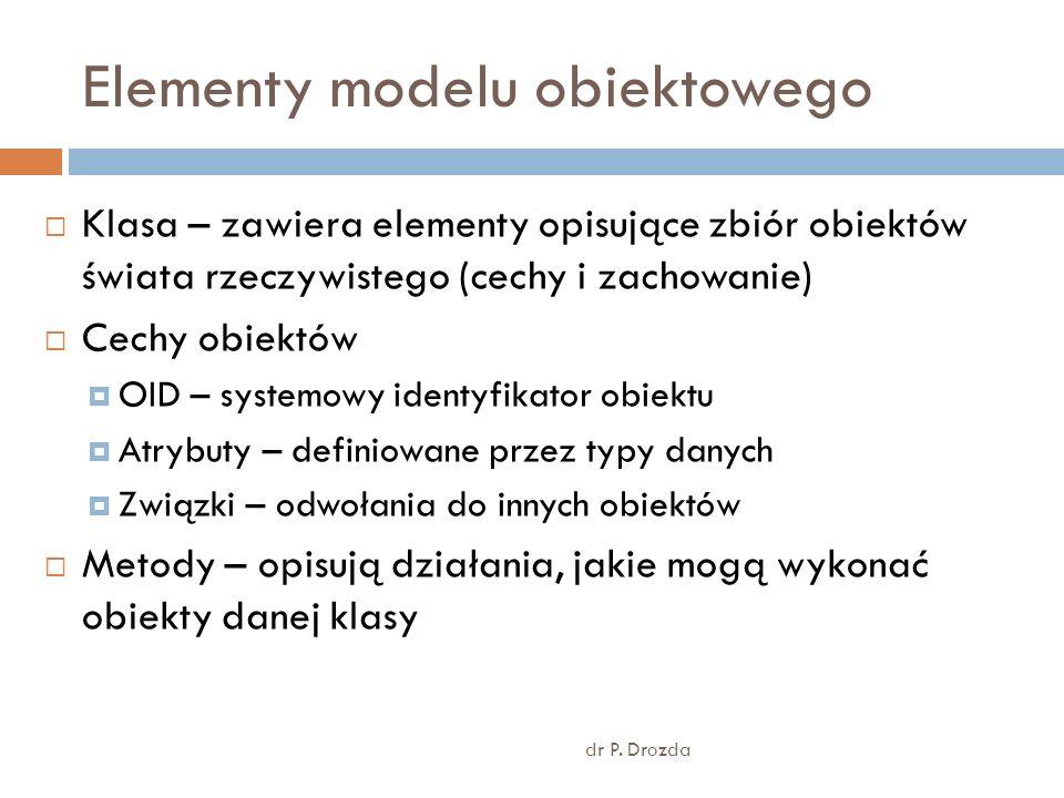 Elementy modelu obiektowego dr P. Drozda Klasa – zawiera elementy opisujące zbiór obiektów świata rzeczywistego (cechy i zachowanie) Cechy obiektów OI