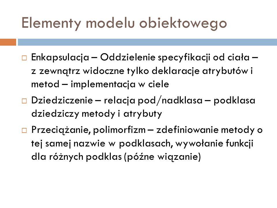 Elementy modelu obiektowego Enkapsulacja – Oddzielenie specyfikacji od ciała – z zewnątrz widoczne tylko deklaracje atrybutów i metod – implementacja