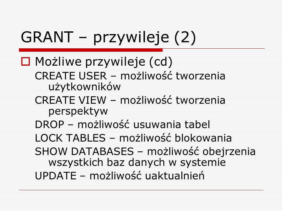 Funkcje – składnia (2) Pętle w MySQL REPEAT ciagInstrukcji UNTIL warunek END REPEAT; Opuszczenie pętli – LEAVE Wymuszenie kolejnej iteracji – ITERATE WHILE warunek DO instrukcje; END WHILE; CASE CASE wyrażenie WHEN wartość1 THEN polecenia; WHEN wartość2 THEN polecenia; WHEN wartość3 THEN polecenia; else polecenia; END CASE;