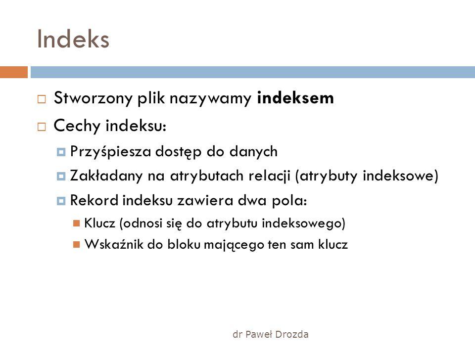 dr Paweł Drozda Indeks Stworzony plik nazywamy indeksem Cechy indeksu: Przyśpiesza dostęp do danych Zakładany na atrybutach relacji (atrybuty indeksow