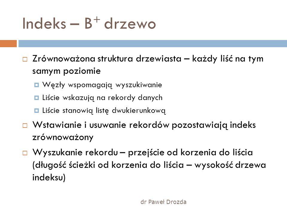 dr Paweł Drozda Indeks – B + drzewo Zrównoważona struktura drzewiasta – każdy liść na tym samym poziomie Węzły wspomagają wyszukiwanie Liście wskazują
