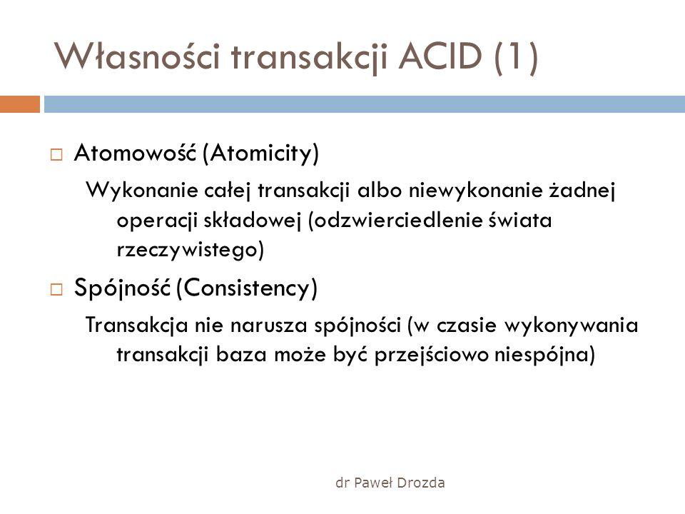 dr Paweł Drozda Własności transakcji ACID (1) Atomowość (Atomicity) Wykonanie całej transakcji albo niewykonanie żadnej operacji składowej (odzwiercie