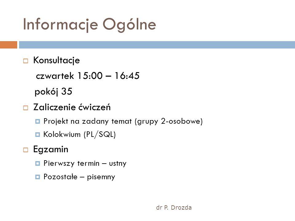 Informacje Ogólne dr P. Drozda Konsultacje czwartek 15:00 – 16:45 pokój 35 Zaliczenie ćwiczeń Projekt na zadany temat (grupy 2-osobowe) Kolokwium (PL/