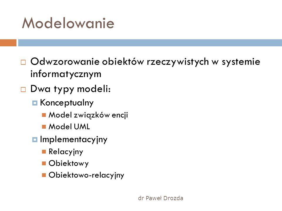 dr Paweł Drozda Modelowanie Odwzorowanie obiektów rzeczywistych w systemie informatycznym Dwa typy modeli: Konceptualny Model związków encji Model UML