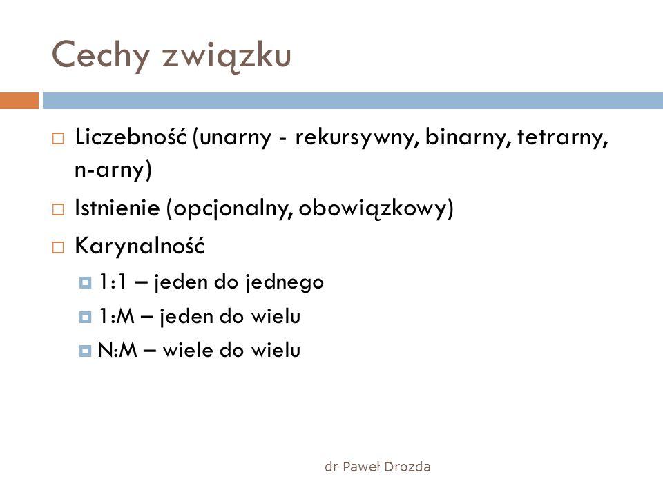 Cechy związku Liczebność (unarny - rekursywny, binarny, tetrarny, n-arny) Istnienie (opcjonalny, obowiązkowy) Karynalność 1:1 – jeden do jednego 1:M –