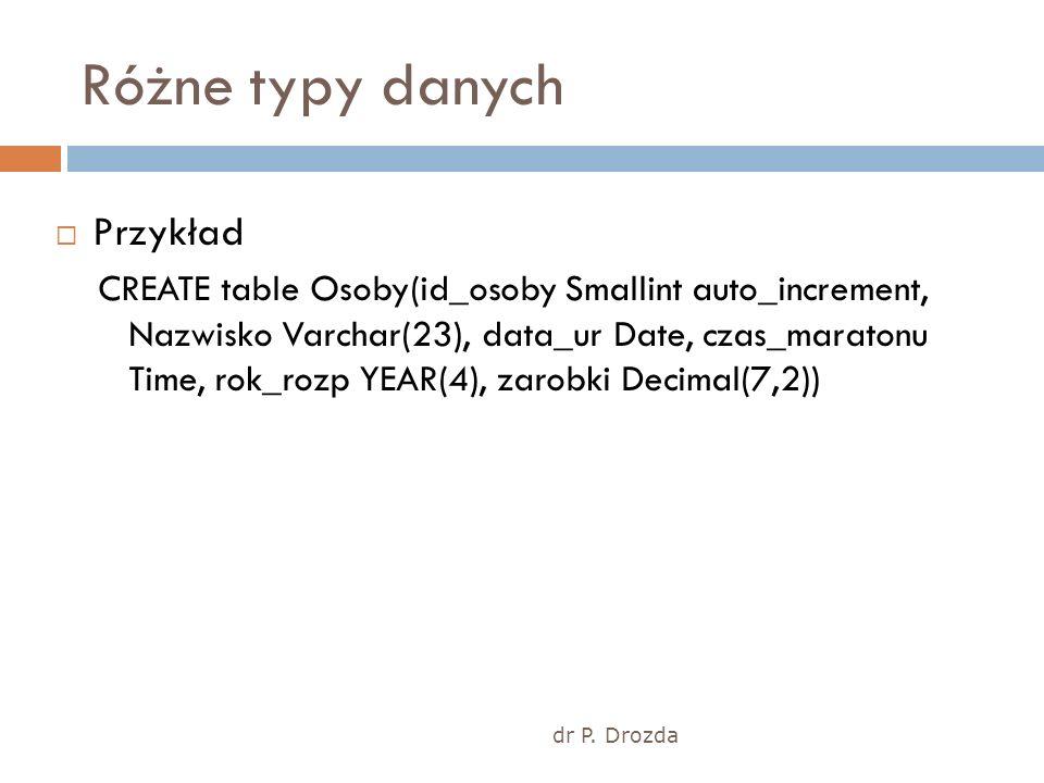dr P. Drozda Różne typy danych Przykład CREATE table Osoby(id_osoby Smallint auto_increment, Nazwisko Varchar(23), data_ur Date, czas_maratonu Time, r