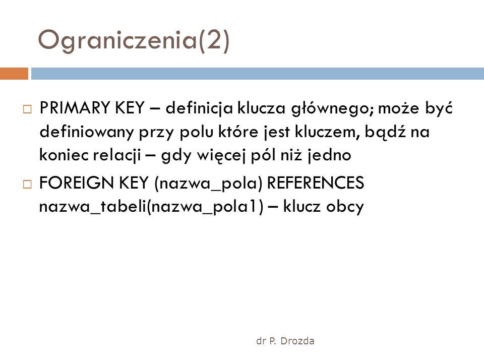 dr P. Drozda Ograniczenia(2) PRIMARY KEY – definicja klucza głównego; może być definiowany przy polu które jest kluczem, bądź na koniec relacji – gdy