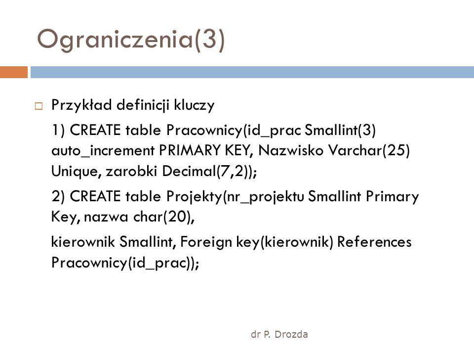 dr P. Drozda Ograniczenia(3) Przykład definicji kluczy 1) CREATE table Pracownicy(id_prac Smallint(3) auto_increment PRIMARY KEY, Nazwisko Varchar(25)