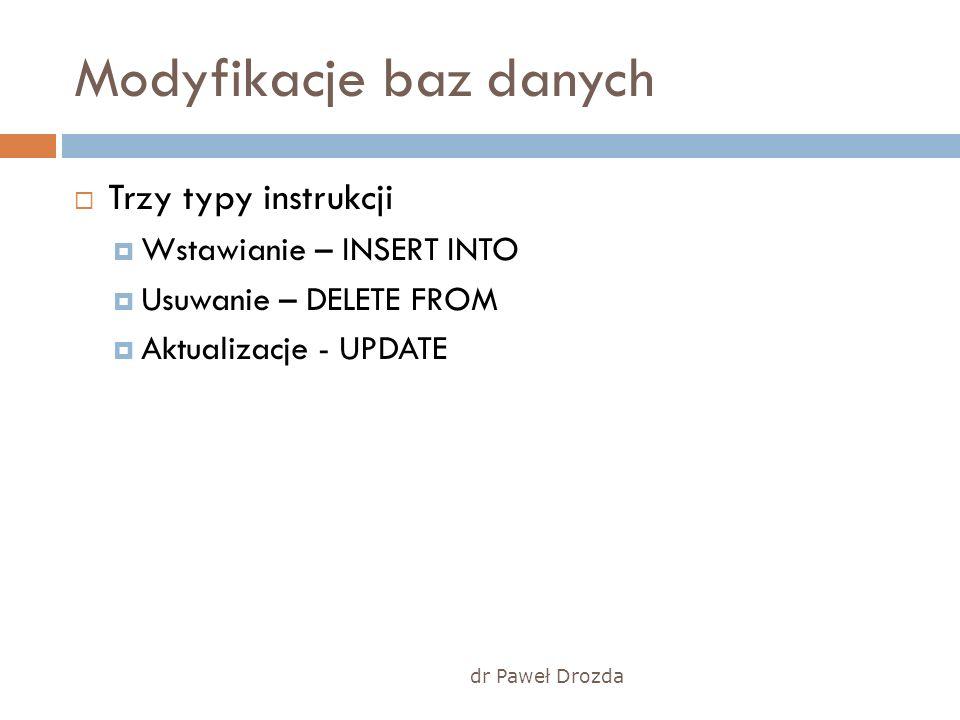 dr Paweł Drozda Modyfikacje baz danych Trzy typy instrukcji Wstawianie – INSERT INTO Usuwanie – DELETE FROM Aktualizacje - UPDATE