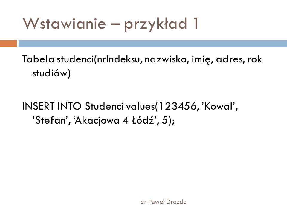 dr Paweł Drozda Wstawianie – przykład 1 Tabela studenci(nrIndeksu, nazwisko, imię, adres, rok studiów) INSERT INTO Studenci values(123456, Kowal, Stef