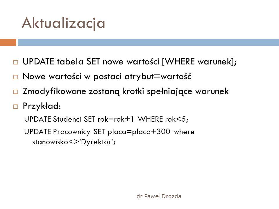 dr Paweł Drozda Aktualizacja UPDATE tabela SET nowe wartości [WHERE warunek]; Nowe wartości w postaci atrybut=wartość Zmodyfikowane zostaną krotki spe