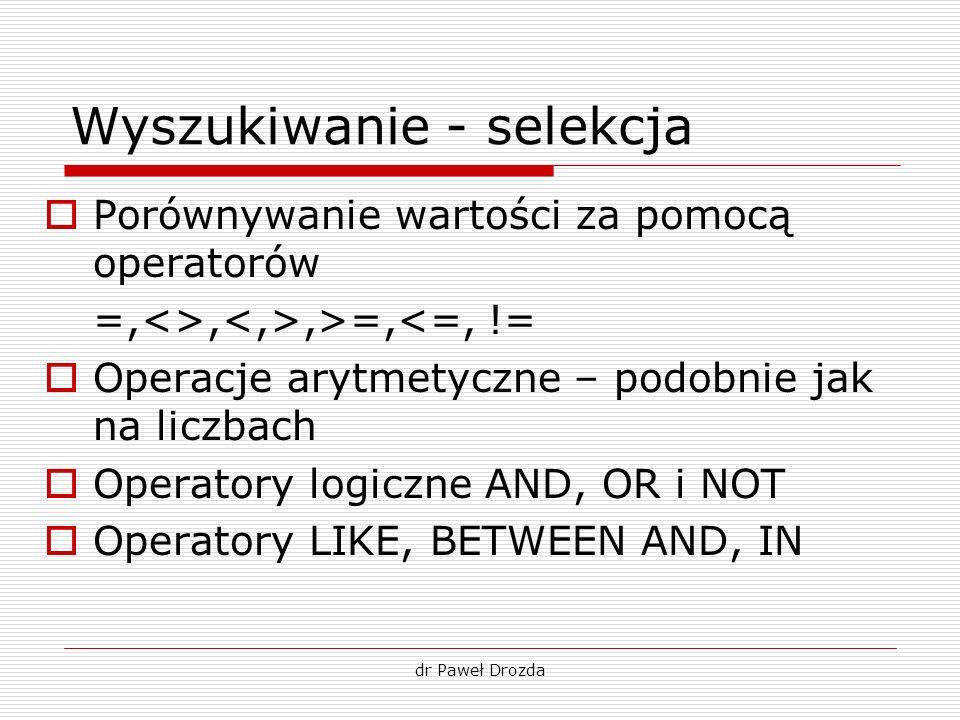 dr Paweł Drozda Wyszukiwanie - selekcja Porównywanie wartości za pomocą operatorów =,<>,,>=,<=, != Operacje arytmetyczne – podobnie jak na liczbach Op