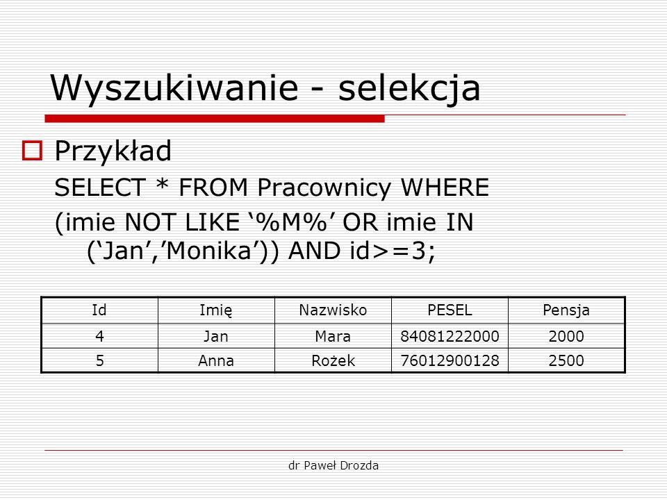 dr Paweł Drozda Wyszukiwanie - selekcja Przykład SELECT * FROM Pracownicy WHERE (imie NOT LIKE %M% OR imie IN (Jan,Monika)) AND id>=3; IdImięNazwiskoP