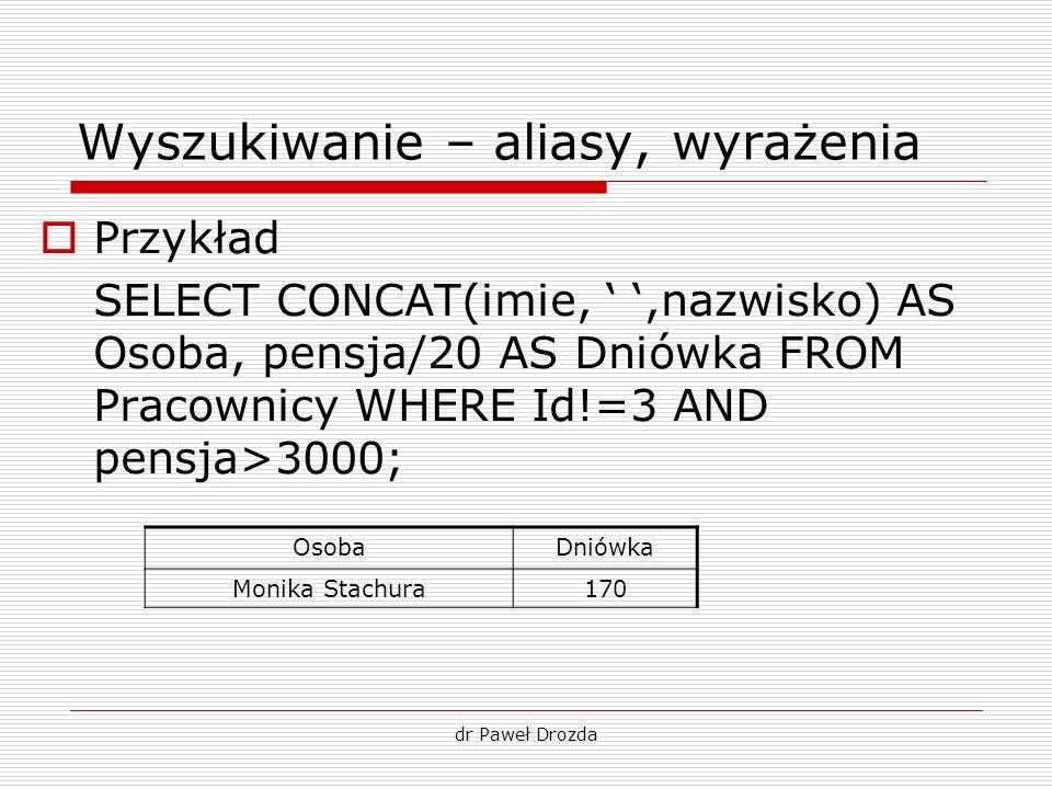 dr Paweł Drozda Wyszukiwanie – aliasy, wyrażenia Przykład SELECT CONCAT(imie,,nazwisko) AS Osoba, pensja/20 AS Dniówka FROM Pracownicy WHERE Id!=3 AND
