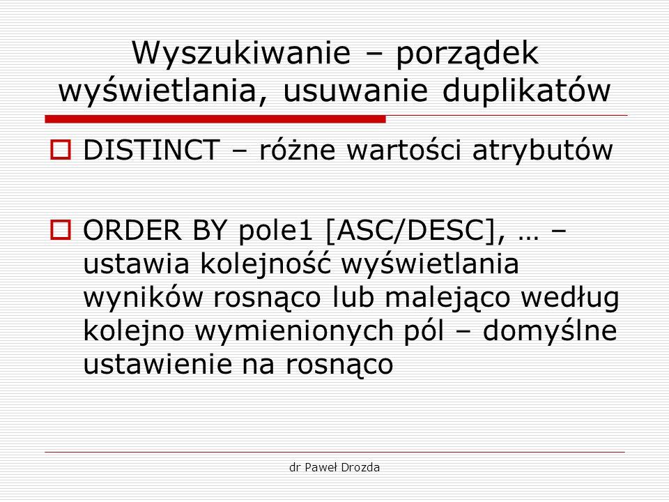 dr Paweł Drozda Wyszukiwanie – porządek wyświetlania, usuwanie duplikatów DISTINCT – różne wartości atrybutów ORDER BY pole1 [ASC/DESC], … – ustawia k