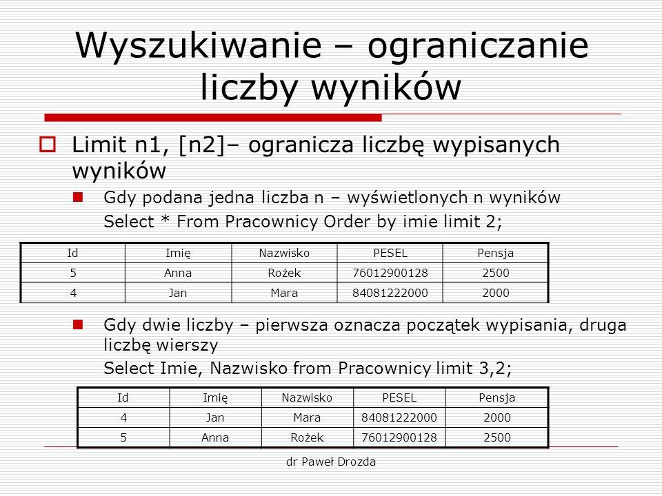 Wyszukiwanie – ograniczanie liczby wyników Limit n1, [n2]– ogranicza liczbę wypisanych wyników Gdy podana jedna liczba n – wyświetlonych n wyników Sel