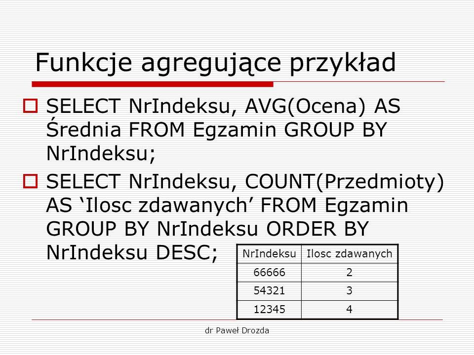 dr Paweł Drozda Funkcje agregujące przykład SELECT NrIndeksu, AVG(Ocena) AS Średnia FROM Egzamin GROUP BY NrIndeksu; SELECT NrIndeksu, COUNT(Przedmiot