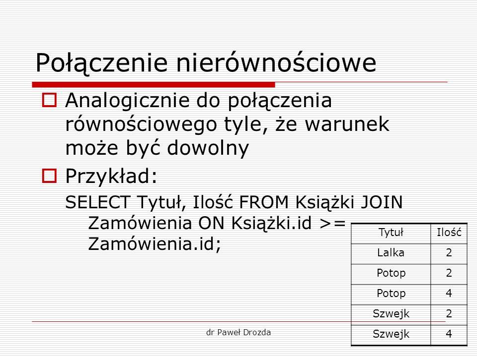 dr Paweł Drozda Połączenie nierównościowe Analogicznie do połączenia równościowego tyle, że warunek może być dowolny Przykład: SELECT Tytuł, Ilość FRO
