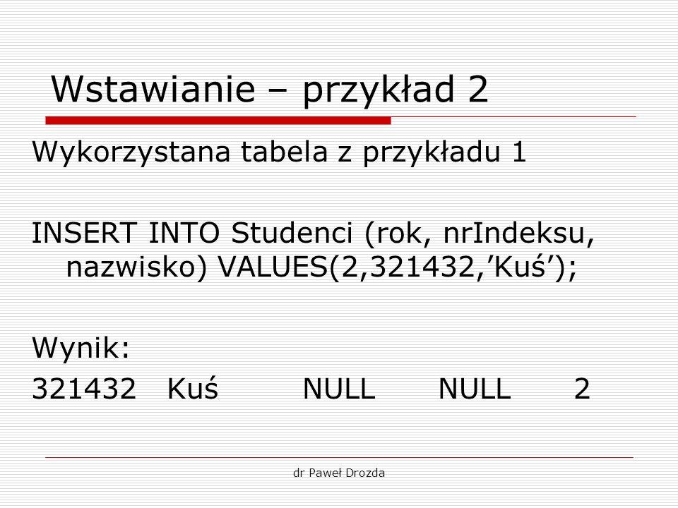 dr Paweł Drozda Wstawianie – przykład 2 Wykorzystana tabela z przykładu 1 INSERT INTO Studenci (rok, nrIndeksu, nazwisko) VALUES(2,321432,Kuś); Wynik: