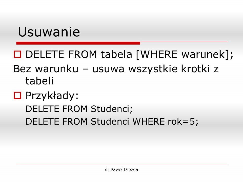 dr Paweł Drozda Usuwanie DELETE FROM tabela [WHERE warunek]; Bez warunku – usuwa wszystkie krotki z tabeli Przykłady: DELETE FROM Studenci; DELETE FRO
