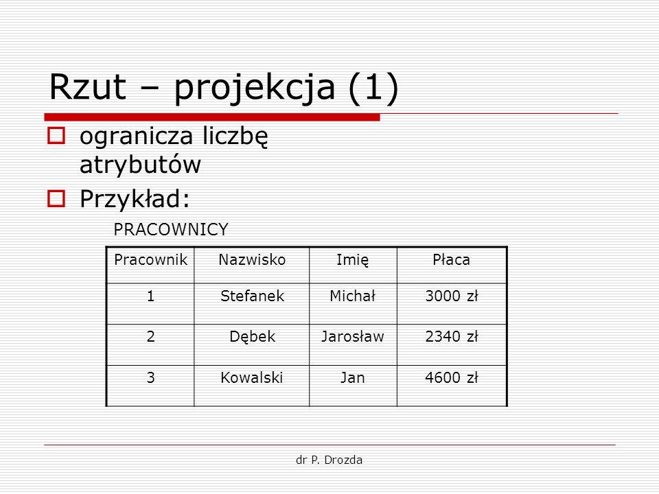 dr P. Drozda Rzut – projekcja (1) ogranicza liczbę atrybutów Przykład: PracownikNazwiskoImięPłaca 1StefanekMichał3000 zł 2DębekJarosław2340 zł 3Kowals