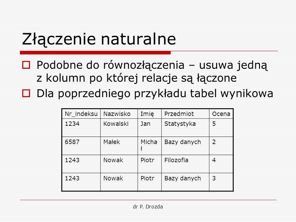 dr P. Drozda Złączenie naturalne Podobne do równozłączenia – usuwa jedną z kolumn po której relacje są łączone Dla poprzedniego przykładu tabel wyniko