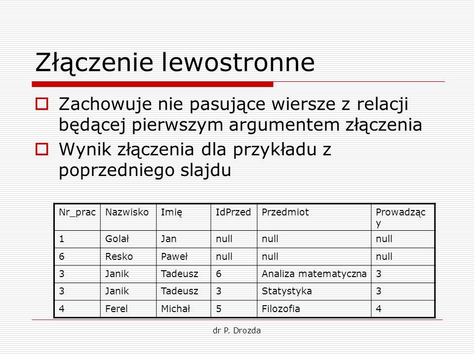 dr P. Drozda Złączenie lewostronne Zachowuje nie pasujące wiersze z relacji będącej pierwszym argumentem złączenia Wynik złączenia dla przykładu z pop