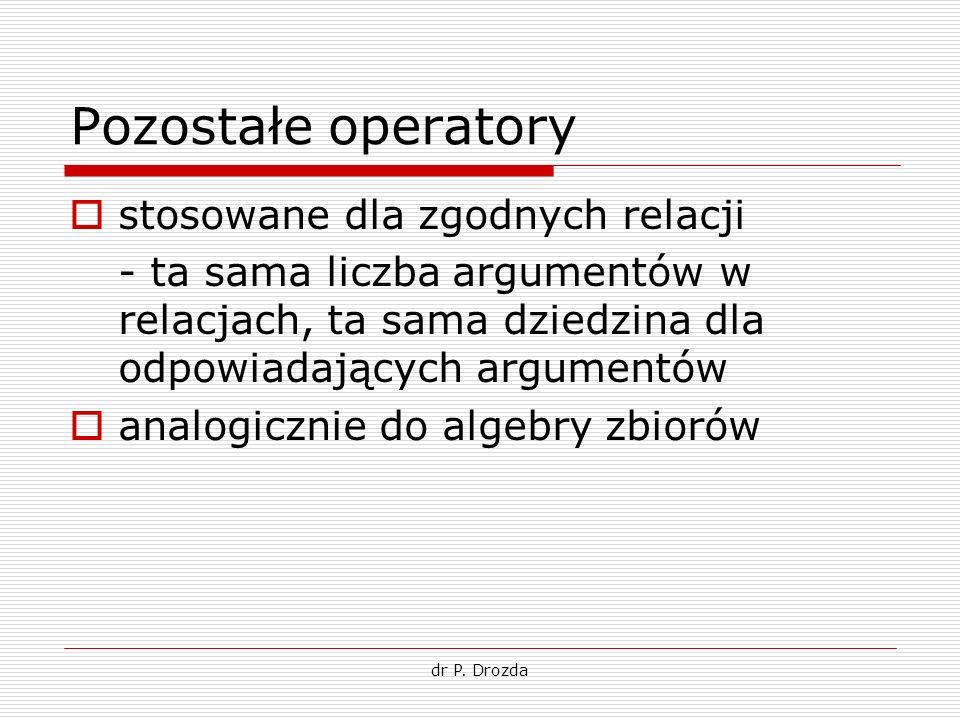 dr P. Drozda Pozostałe operatory stosowane dla zgodnych relacji - ta sama liczba argumentów w relacjach, ta sama dziedzina dla odpowiadających argumen