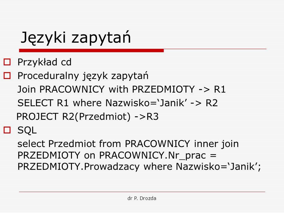 dr P. Drozda Języki zapytań Przykład cd Proceduralny język zapytań Join PRACOWNICY with PRZEDMIOTY -> R1 SELECT R1 where Nazwisko=Janik -> R2 PROJECT