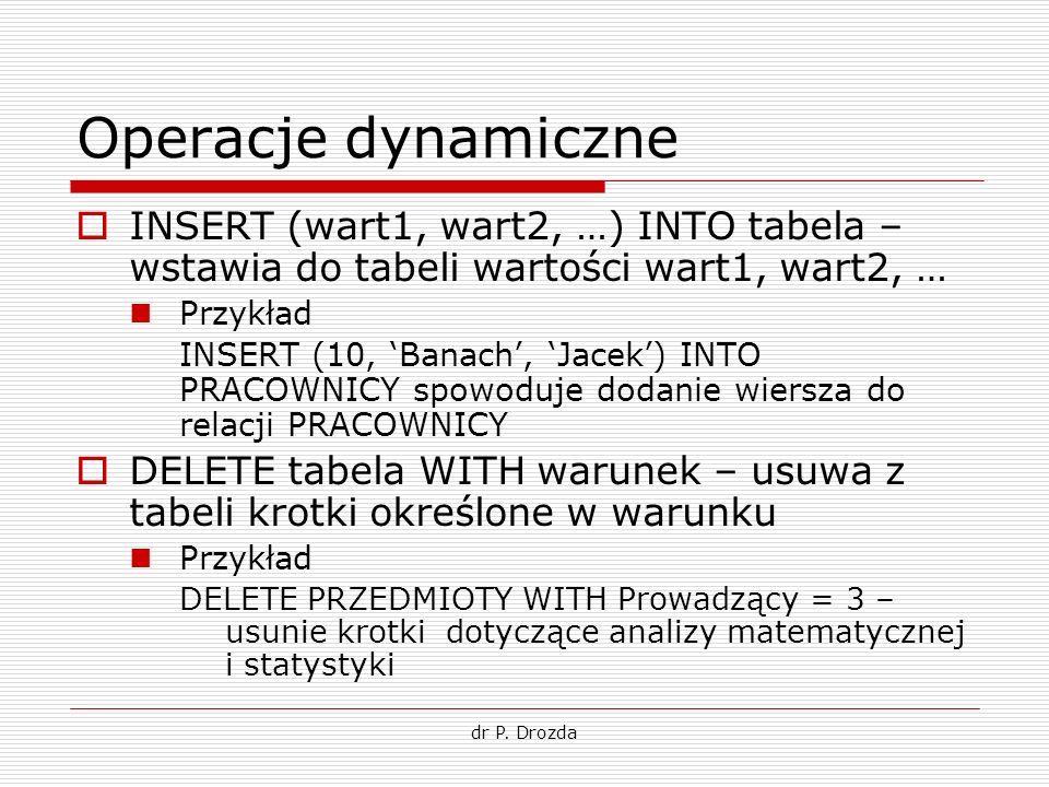 dr P. Drozda Operacje dynamiczne INSERT (wart1, wart2, …) INTO tabela – wstawia do tabeli wartości wart1, wart2, … Przykład INSERT (10, Banach, Jacek)