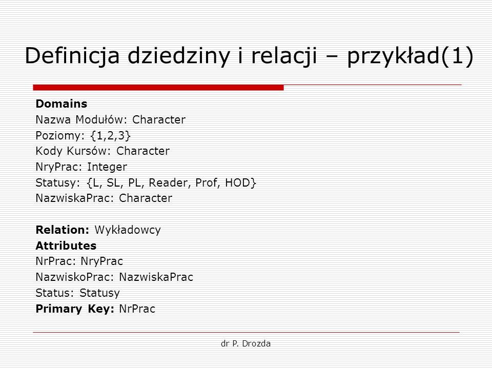 Definicja dziedziny i relacji – przykład(1) Domains Nazwa Modułów: Character Poziomy: {1,2,3} Kody Kursów: Character NryPrac: Integer Statusy: {L, SL,