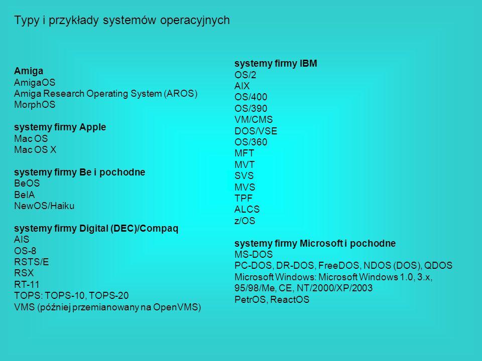 Typy i przykłady systemów operacyjnych Amiga AmigaOS Amiga Research Operating System (AROS) MorphOS systemy firmy Apple Mac OS Mac OS X systemy firmy