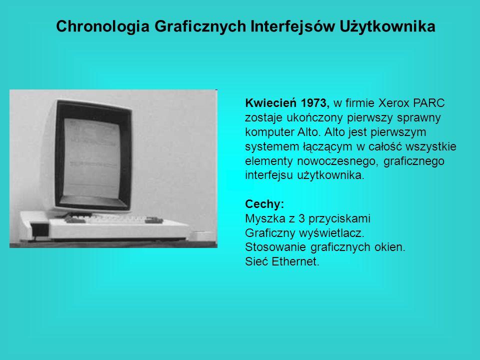 Chronologia Graficznych Interfejsów Użytkownika Kwiecień 1973, w firmie Xerox PARC zostaje ukończony pierwszy sprawny komputer Alto. Alto jest pierwsz