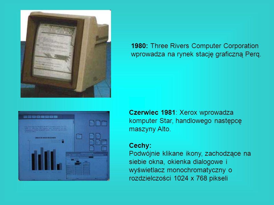 1980: Three Rivers Computer Corporation wprowadza na rynek stację graficzną Perq. Czerwiec 1981: Xerox wprowadza komputer Star, handlowego następcę ma