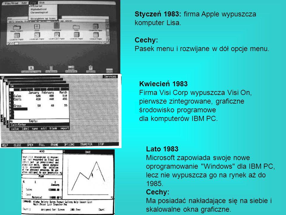 Styczeń 1983: firma Apple wypuszcza komputer Lisa. Cechy: Pasek menu i rozwijane w dół opcje menu. Kwiecień 1983 Firma Visi Corp wypuszcza Visi On, pi
