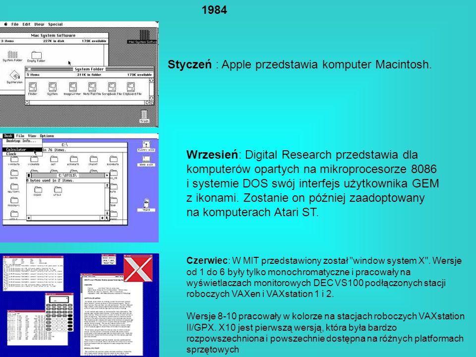 1984 Styczeń : Apple przedstawia komputer Macintosh. Wrzesień: Digital Research przedstawia dla komputerów opartych na mikroprocesorze 8086 i systemie