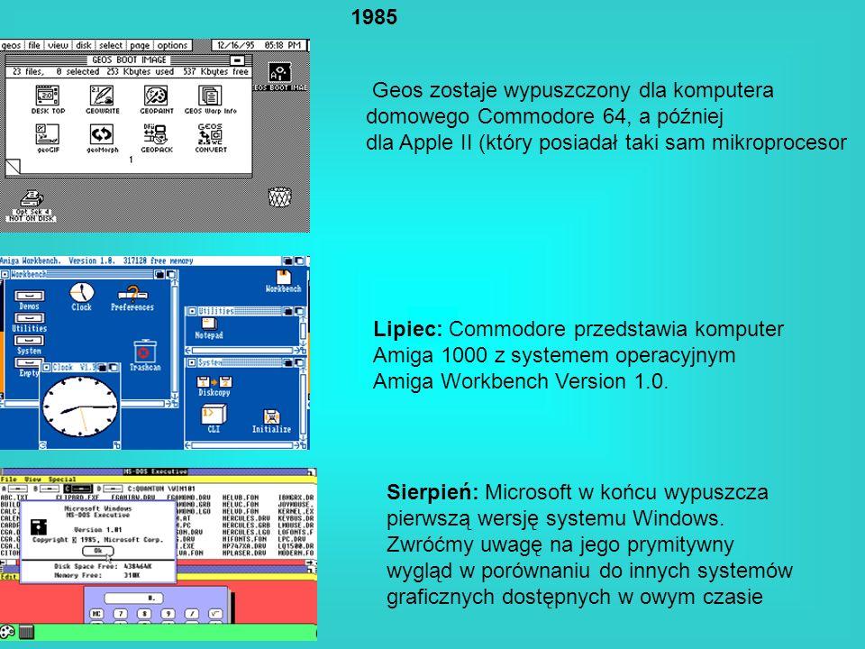 Geos zostaje wypuszczony dla komputera domowego Commodore 64, a później dla Apple II (który posiadał taki sam mikroprocesor 1985 Lipiec: Commodore prz