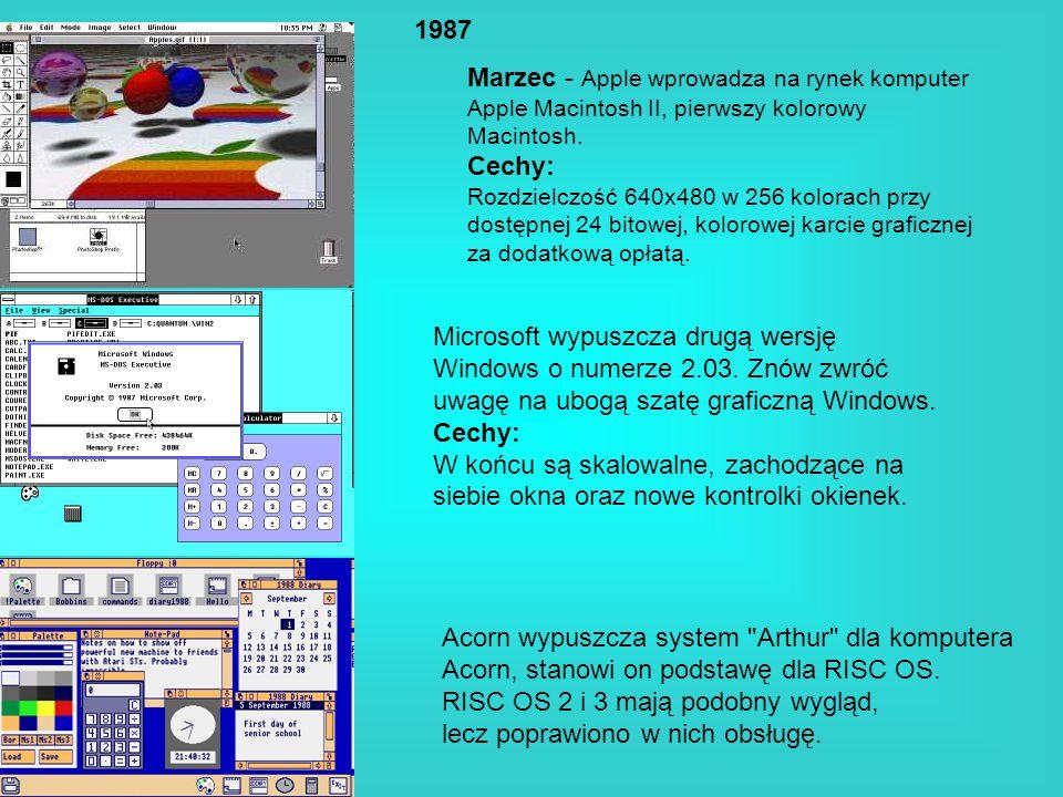 1987 Marzec - Apple wprowadza na rynek komputer Apple Macintosh II, pierwszy kolorowy Macintosh. Cechy: Rozdzielczość 640x480 w 256 kolorach przy dost