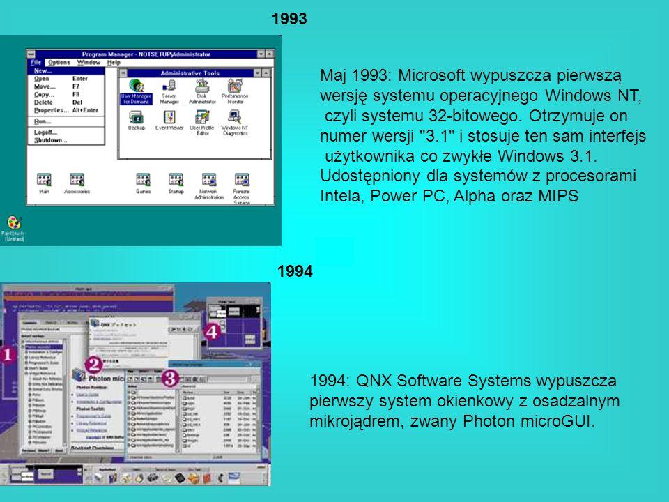 1993 1994 Maj 1993: Microsoft wypuszcza pierwszą wersję systemu operacyjnego Windows NT, czyli systemu 32-bitowego. Otrzymuje on numer wersji